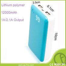Universal 12000mAh banco portable recargable de la energía para el teléfono móvil con insignia libre OEM
