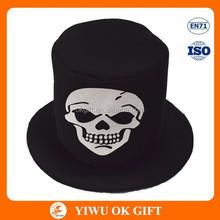 Composite saffeta flattop Halloween hat, skull print on hat, party hat manufacturers