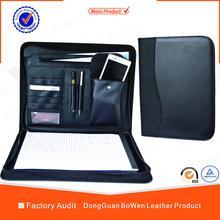 Bowen Black PU Portfolio Leather Zipper Organiser A4 Executive Conference Folder