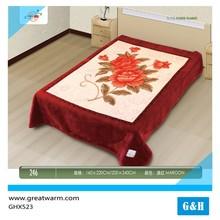 4kg best quality super soft plush home deep red flower print raschel blanket