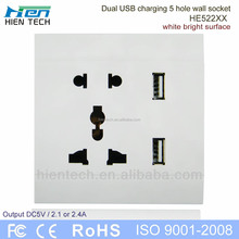 USB wall socket socket welding pipe adapter 2 USB charging ports 5V2.1A and 5V2.4A 2 colors
