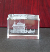 3D Laser Engraved Indian Golden Temple Cube Religious Crystal Souvenirs Crystal Gifts
