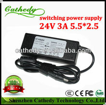 CE SAA GS FCC 24V 3A 72W DC adapter high efficiency