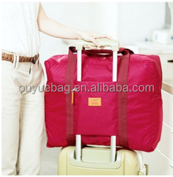 Hot sale ! Waterproof nylon fold up travel bag clothes travelling storage bag pink sky pouch traveling bag