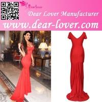 2015 Low Neckline Padded Red Floor-length evening dresses for veiled women