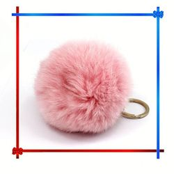 AD018 wholesale fox fur ball key chain for bags /chain fobs