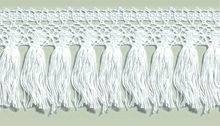 45mm wide White Cotton Fringe Lace Trimming #6496