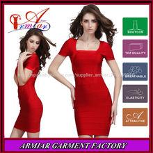2014 roja de manga corta cuadrados- corte collar de mujer ropa para la fiesta, baratos vendaje vestido
