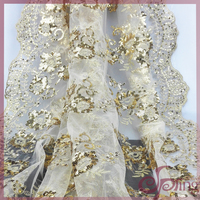 Gold metallic embroidery design mesh fabric, sequin fabric bridal lace fabrics for wedding dress