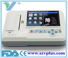 Portable Digital ECG machine 600G Digital 3/6 Channel ECG touch Color screen