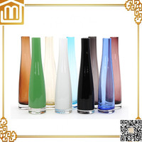 Professional hand blown footed glass vase with low price