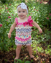 Baby Girl White Black Hot Pink Heart Polka Dots Petti Romper Hair Clip 2pc NB-3Y