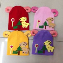 cute sheep knitted hat lovely acrylic hat children's knitted beanie