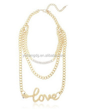Latest Design Crystal Necklace, Goldtone Layered Iced Out Bar And Snake 'love' Necklace