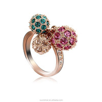 OUXI fashion gold plated colorful ball latest design diamond ring 40037
