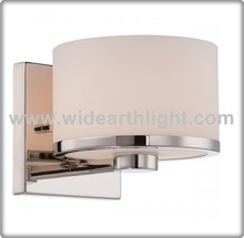 UL CUL CE Listed Chrome Vanity Wall Sconce Glass Opal With Drum Shade W50339