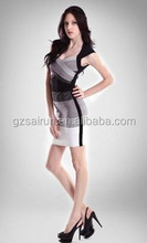 2015 hot sale gray black white mix dress classic style cheap graceful mature bandage dress
