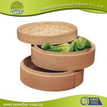 Lower price bamboo 3 layers steamers for customer