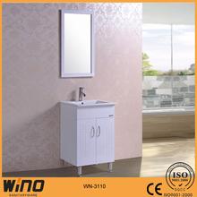 600mm PVC free standing bathroom vanity corner cabinet with mirror