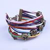 rainbow wide leather bracelet ,vintage bracelet girl festival accessory(swtaa1374)