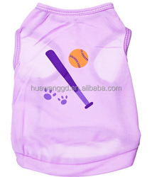 wholesale dogs summer sports styles purple dog tank top with baseball pattern