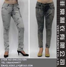 más caliente de lavado con ácido mujeres skinny <span class=keywords><strong>jeans</strong></span> directamente de fábrica