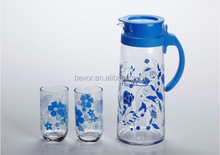 drinking glass water set, glass jug and cups