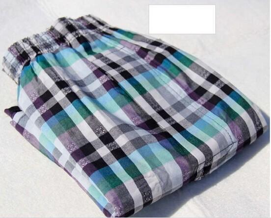10pcs/lot новый осенний дешевый хлопок белье 100% хлопок Трусы мужские шорты клетчатые Мужские свободные трусы