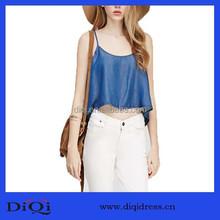 China Oem latest fashion lady garments beautiful clothing stylish Lyocell loose denim halter top women fancy clothes