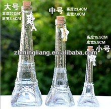 La Tour Eiffel tower shape glass perfume bottles in any color cork cap