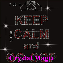 keep clam and carry on rhinestone transfer motifs for t shirt printing