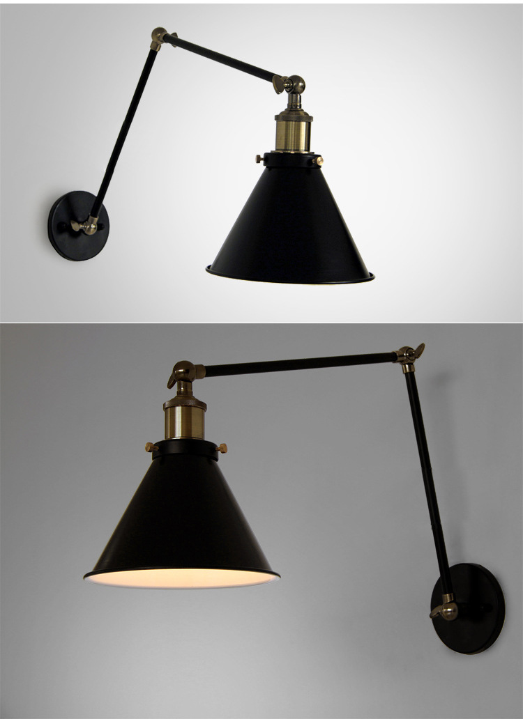 Industrial Swing Arm Wall Lamp Warehouse Ambient Light