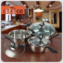 Korean style 6pcs induction stainless steel cooking pot set with bakelite handles