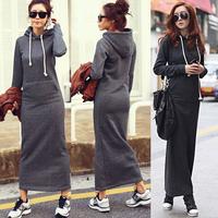 Women Fleece Autumn Winter Slim Plain Hoodies Bodycon Sweater Long Maxi Fur Dress