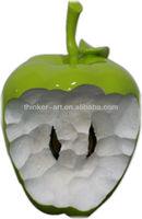 Big size Green bitten apple resin sculpture moder office desk decor
