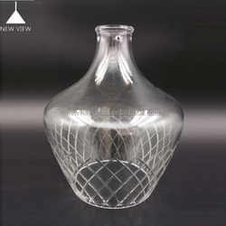 Flower carved blown lampshade clear lighting glass hanging lamp cover, glass bottle avaliable as pendent lighting suspension