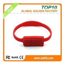 Best quality Red wristbands usb memory card with H2 testing