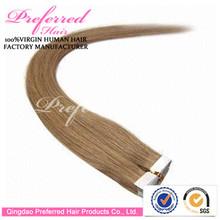 Premium Best Seller Top Quality 18'' 16# Color Yaki Style 100% Virgin Brazilian Hair Tape Hair Weft Wholesale Prices