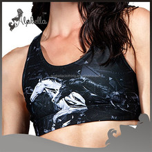 Polyester/spandex sublimation racer back black bra with colorful printing