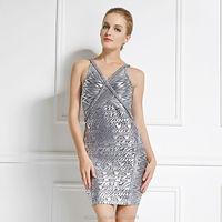 hot sale foil printed sexy transparent dress fashion show