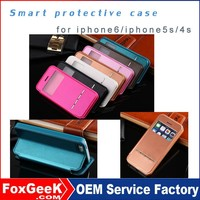 New products in 2015 on China market fashion leather case for iphone 6/for iphone 5 with waterproof smart magnetic Cover