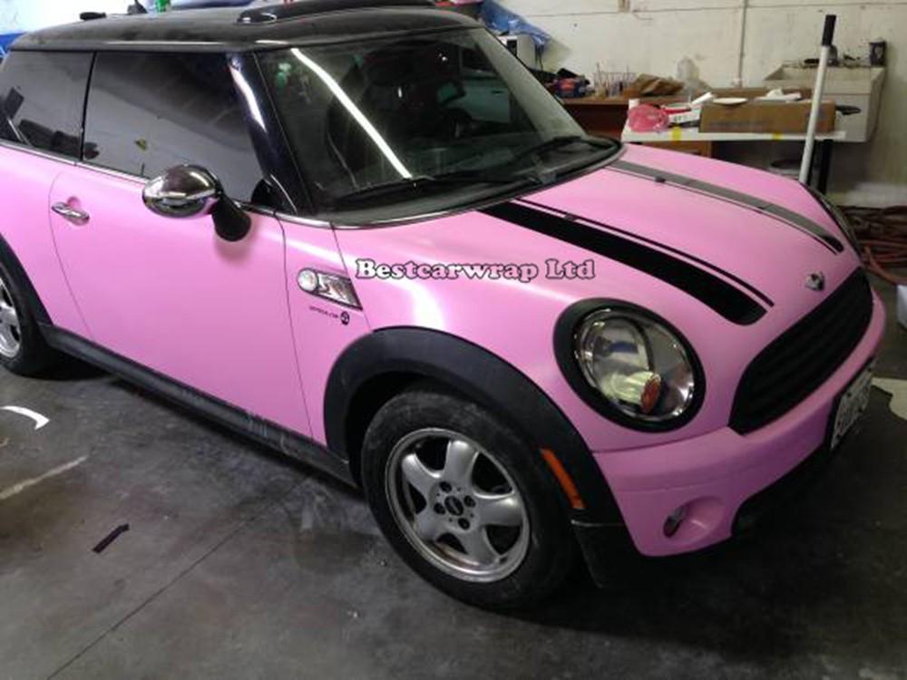 pink matt vinyl car wrapping film matte wrap sheets (5)