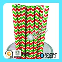 Christmas Red and Green Chevron Paper Straws