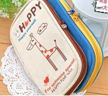 Polyester/nylon/canvas Material wooden pencil case for shopping