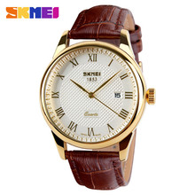 rose gold auto-date Japan quartz movement lover leather strap watch
