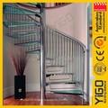 Ferro fundido escadas em espiral/pequena espiral corrimão da escada/design vidro escadas em espiral
