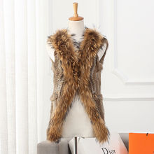 Wholesale Fashion Animal Knitted Vest Rabbit And Raccoon Fur Vest From China