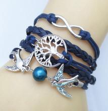 silver plated diy birds infinity charm bracelet