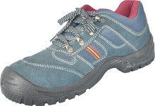 Steel toe work safety shoes with leather upper