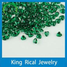 Customize/wholesale heart shape green glass gems